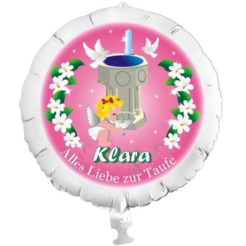 Personalisierter Foto-Ballon zur Taufe für Mädchen, mit individuellen Namen, mit Helium befüllbar, in XXL, mit Heliumfüllung