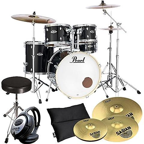 Pearl Export exx725z/C31Black, con piatti + KEEPDRUM Drum-Sgabello + Cuffia - Vision Drum Set
