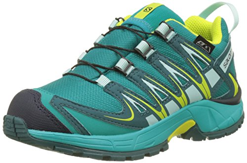 Salomon XA Pro 3D CSWP J, Zapatillas de Trail Running Unisex Niños, Turquesa (Deep Peacock Blue/Ceramic/Lime Punch), 38 EU