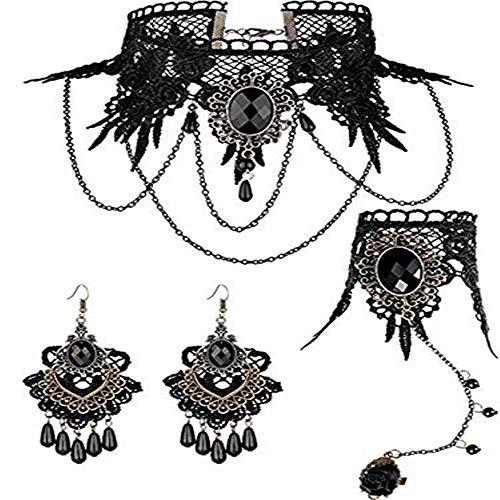 Steerfr collana e orecchini in pizzo nero-gotico retro collana girocollo choker con perlina nero in pizzo partito, grande regalo per la fidanzata