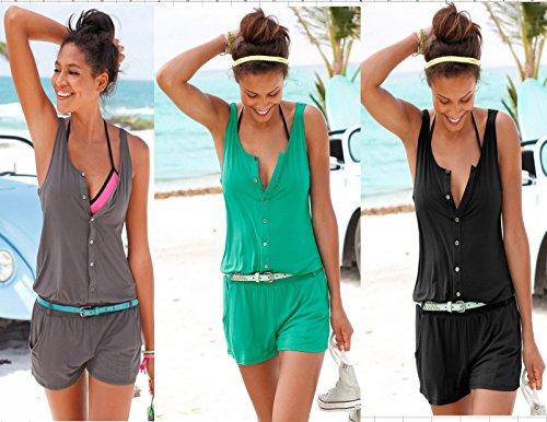 ECOWISH Damen V-Ausschnitt ärmellos Cut Out-Sommer-Strand beiläufige Spielanzug Overall Schwarz