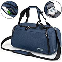 BonClare Sports Duffle Bag with Shoes Compartment and Wet Pocket, 42L Waterproof Gym Bag for Men and Women, Durable Travel Duffel Bag with Shoulder Strap and Combination Lock