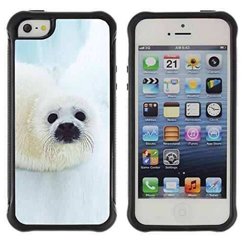 Graphic4You Seehund Tier Weiß Stoßfeste Anti-Rutsch Weichen Hülle Case Tasche Schale Schutzhülle für Apple iPhone SE / 5 / 5S Design #11