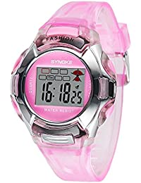 SYNOKE Moda Studentessa orologio sportivo multifunzionale digitale Bambini Bambini Orologio da polso con impermeabile Allarme Night-light