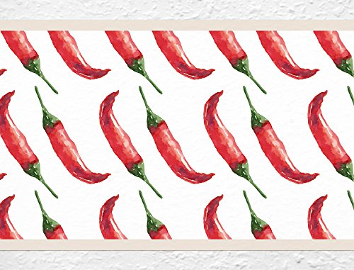 I-love-Wandtattoo b-10079 Küchenbordüre 'Chilis' Bordüre Küche Wanddeko Chilischoten