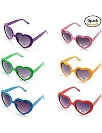 ONNEA 6 Pares Gafas de Sol Fiesta Forma de Corazón Neon Colores Paquete (Multicolor 6