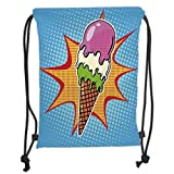 Fashion Printed Drawstring Backpacks Bags,Ice Cream Decor,Retro Pop Art Cone with Digital Dots Comic Lifestyle Old Fashion Graphic,Multicolor Soft Satin,5 Liter Capacity,Adjustable String Closure,