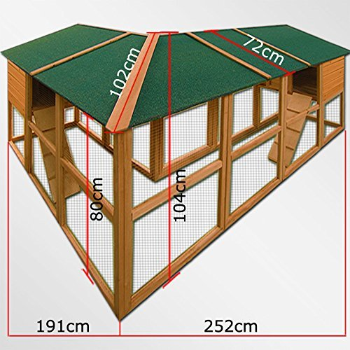 Kaninchenstall Hasenkäfig Kleintierstall Kaninchenkäfig Hasenstall Hühnerstall 4,43m Gesamtlänge - 2