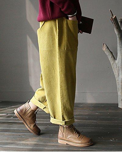 Aeneontrue Femmes Élastique Taille Velours Côtelé Pantalons Casual Loose Harlan Pantalons avec Big Poches Jaune
