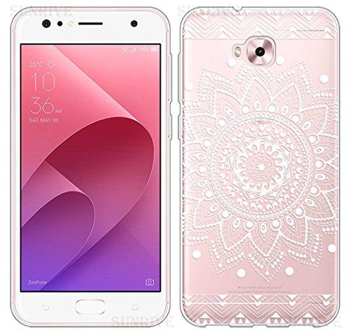 Sunrive Für Asus Zenfone 4 Selfie ZD553KL 5,5 Zoll Hülle Silikon, Transparent Handyhülle Schutzhülle Etui Case Backcover(TPU Blume Weiße)+Gratis Universal Eingabestift
