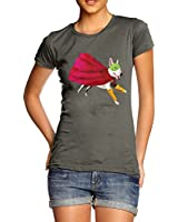 Twisted Envy Women's Super Hero Bull Terrier 100% Organic Cotton T-Shirt
