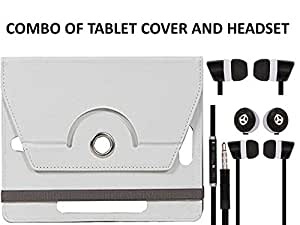 Value Combo Of White Tablet Book Flip Case Cover And Black Headset Earphones For iBall Slide 6095 D20 Q700 3G With 3.5mm Jack & Mic