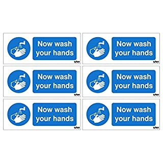 6 x Now wash your hands signs. Each sign is 100mm x 40mm (Pack of 6) (Self Adhesive Sticker)