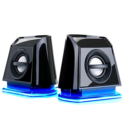 GOgroove LED Satelliten Lautsprecher Set / Stereo 2.0 Speaker System Subwoofer für Computerspiele wie Mass Effect Dawn of War III Tom Clancy's Ghost Recon Minecraft Far Cry Primal und mehr