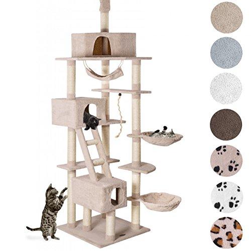 Produktabbildung von Kratzbaum Katzenbaum CAT015-2 Deckenhoch Höhenvertsellbar ca. 230 - 260 cm Beige