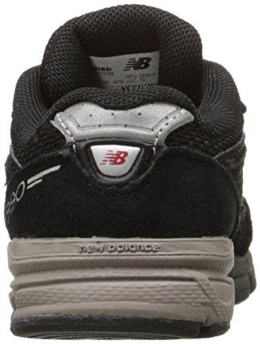 NEW BALANCE - Chaussure de berceau grise à lacets, en suède et synthétique, avec logo latéral et semelle en tissu, garçon, garçons Black