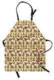 ABAKUHAUS Ape Grembuile da Cucina, Grizzly Bear Mangiare Miele, Colore Fisso Altezza Regolabile Lavabile Stampa Chiara Digitale, Multicolore