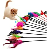 Hosaire 4x Cat Toys Katzenspielzeug Katze Spielzeug Federstab mit Glocke und Feder Katzenspielzeug für Cat Haustier (4 Pcs)