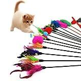 Hosaire 4x Cat Toys Katzenspielzeug Katze Spielzeug Federstab mit Glocke