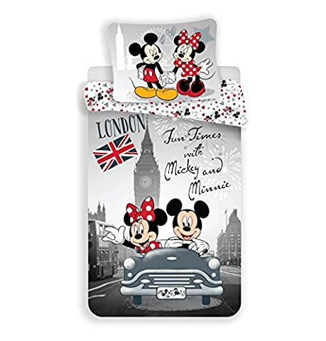 Jerry Fabrics 226122 Mickey and Minnie à Londres, coton, White, Grey, Red, 200 x 140 cm