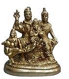 Messing Statue Golden Farbe Lord Shiva Familie Tempel Visitenkarte Sammlerstück