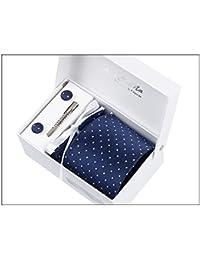 Moda de Hombre, Corbata de lazo, pañuelo, pin palo y Gemelos caja de regalo