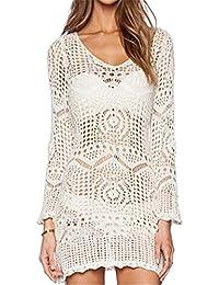 Haililais Robe Tunique Femelle Dentelle Crochet Glamour Dress Blouse De  Plage Manche Longue Ajouré Robe Décontractée 1309d5d70ecc
