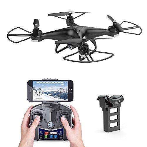 Holy Stone HS110D FPV RC Drohne mit 120° FOV Weitwinkelobjektiv 720p HD Kamera Live Übertragung,WIFI camera,upgrade RC Helikopter Quadrocopter ferngesteuert mit automatische Höhenhaltung,One Key Start/Landung, APP steuern, extra Modulere Batterie, Kopflos Modus, rc drone für Anfänger, Farbe hell Schwarz
