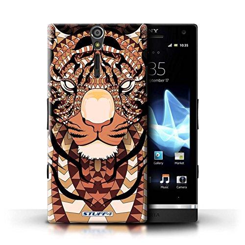 KOBALT® Hülle Case für Sony Xperia S/LT26i | Wolf-Sepia Entwurf | Aztec Tier Muster Kollektion Tiger-Orange
