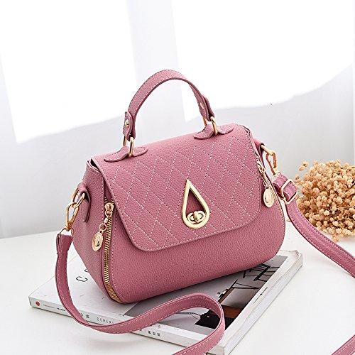 LiZhen piccoli pacchetti femmina di nuova tendenza di le donne coreane il pacchetto a un algebra lineare tote bag, piccolo pacchetto, m grigio Rosa