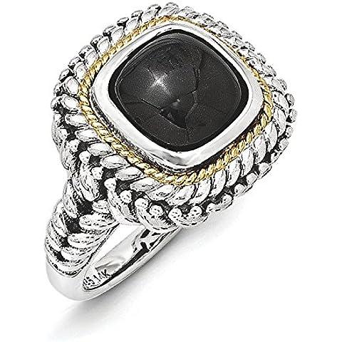 Collana in argento Sterling con Cabochon, onice, con anello 14, misura L 1/2 JewelryWeb