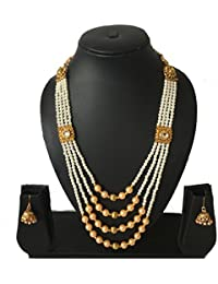 Evince Mode Exclusive Party Pearl White Gold Kundan Necklace Earring Set