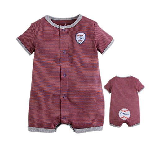 Kauftree Baby Jungen Spieler Strampler Playsuit Babyspieler Sommer Kurzarm Baseball Bekleidung Baumwolle Gestreift (24 Monate) -