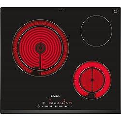 Siemens ET651FKP2E Integrado Cerámico Negro hobs - Placa (Integrado, Cerámico, Vidrio y cerámica, Negro, 1200 W, Alrededor)