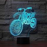 Usb del motociclo ha condotto la luce di notte 7 colori che cambiano la bici della sporcizia 3D Lampada da tavolo Regali per bambini Camera da letto Comodino Illuminazione di sonno Decor