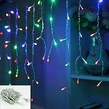 VINGO® 10m 200 LED RGB Eiszapfen Weihnachtslichterkette Lichterkette Romantisch für Weihnachtszeit Hochzeiten Wedding Garten