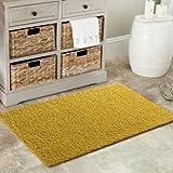 Gelb weicher Hochflor Shaggy Matten Maschinenwaschbar Rutschfeste Schlafzimmer Teppiche (7Größen erhältlich), plastik, rose, 50x80cm