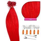 Keratin Bonding Hair Extensions 100% Echthaar Haarverlängerung (#RED rot – 50 Strähnen 0,5g – 60cm) U-Tip Nail Extension Remy Qualität Keratinbondings Gratis Zubehör by GlamXtensions