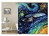 Aeici Duschvorhang Abstrakte Zeichnung UFO Badewannenvorhang Dachschräge Polyester Bad Vorhang Blau 120X180Cm
