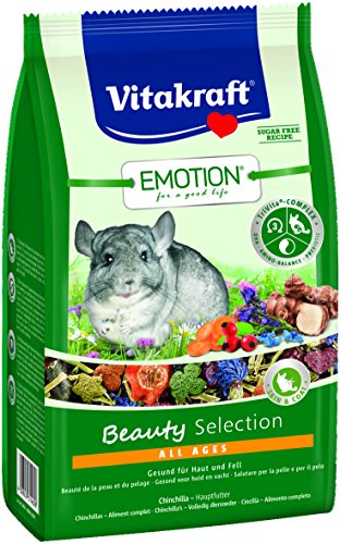 Vitakraft Alleinfutter für Chinchillas, Luzerne, Karotten und Blüten, TriVita-Complex, Emotion Beauty Selection All Ages (5 x 600g)