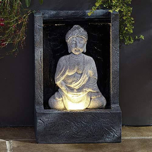 Lights4fun LED Buddha Brunnen beleuchtet grau strombetrieben (Springbrunnen Buddha Wasser)