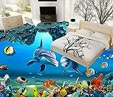 Kuamai 3D Boden Badezimmer Fliesen Aufkleber Wasserdicht Sea World Dolphin Wandbild Tapete 3D Bodenfliesen Unterwasser Tapeten Wandmalereien-280X200cm
