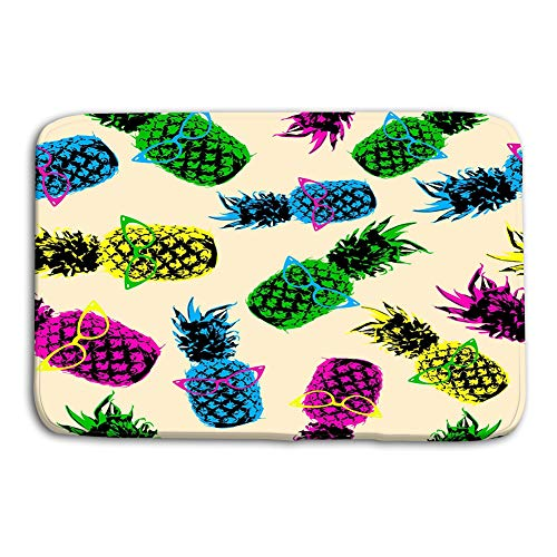 Print Bath Rugs Bathroom Accessories Non-Slip Doormat Floor Entryways Indoor Front 23.6 By 15.7 Inch retro hipster summer pattern color pineapple s style fruit eye glasses high contrast vibrant eps High Contrast Matte