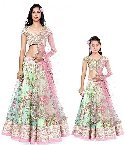 Super DealWomen\'s Green & Kids Girl\'s Green Net Benglory Silk Semi-stitched Free Size Combo Pack Lehenga Choli (Kids 8-12 Year) (Indian Clothing Ghagra Choli 4011_404)
