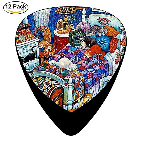 Celluloid Guitar Picks For Acoustic Guitar,Print Cats At Home,12 Pack (Home At Print)