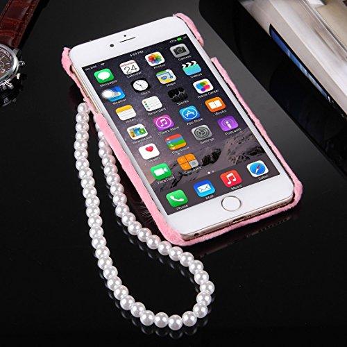 GHC Cases & Covers, Für iPhone 6 & 6s Furry Ball Diamond verkrustete Plüsch Tuch Abdeckung PC Schutzhülle mit Perle Kette ( Color : Grey ) Pink
