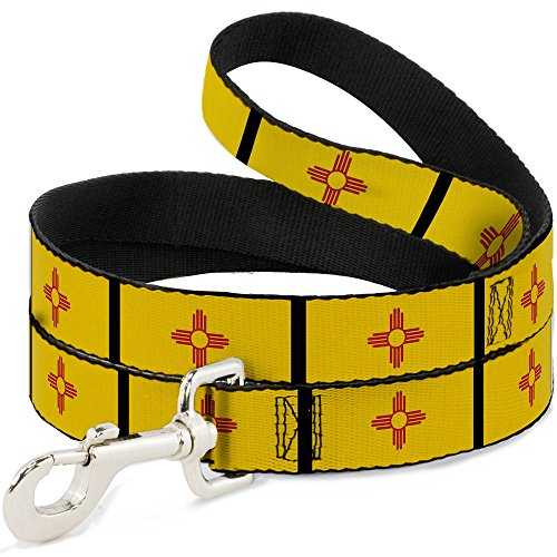 Buckle Down dl-w31445-w breit 3,8 cm New Mexiko Flagge/schwarz Hund Leine, 4 '