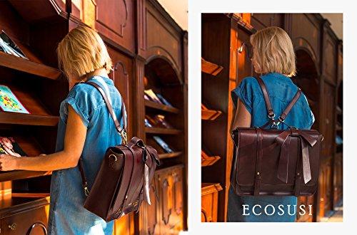 ECOSUSI Borsa Messenger a Tracolla Borsa Vintage Zaini Casual Donna per Laptop 14.7 Pollici (Caffè1)