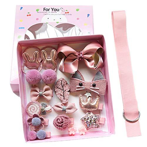 chteng 18Kinder mit Kopfbedeckungen Bowknot Schmetterling Haar Clips Gum Elastic Bands Hair Accessories Haarspangen Haargummis für niedliche Baby