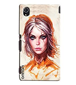 Omnam Girl Painted With Gold Color Printed Designer Back Cover Case For Sony Xperia M4